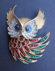 Vintage Crown Trifari Owl Brooch