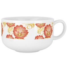 Large Abstract Apricot Flowers Soup Mug