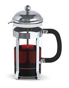 Francois et Mimi Single Wall Borosilicate Glass French Coffee Press, 12-Ounce, Stainless Steel, Chrome Design - http://teacoffeestore.com/francois-et-mimi-single-wall-borosilicate-glass-french-coffee-press-12-ounce-stainless-steel-chrome-design/