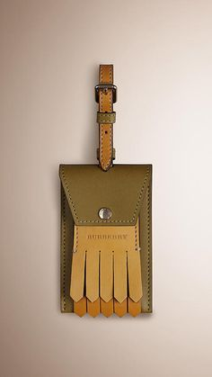 Olive green Leather Luggage Tag.