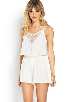 Surplice and Lace Romper | FOREVER21 - 2000073422