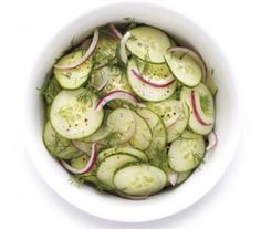 Tangy Cucumber-Dill Salad Recommend making the day before so flavors can really meld together!