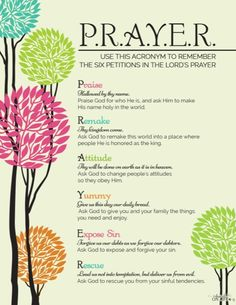 If you desire to also teach your children how to pray Biblically, to pray the way Jesus taught his disciples to pray, read on. Learn the P.R.A.Y.E.R model. https://www.intoxicatedonlife.com/2014/11/06/6-essential-steps-prayer-teaching-kids-pray/