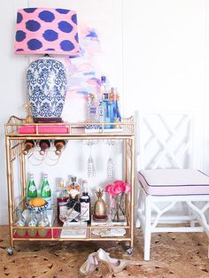 Love the navy + pink combo