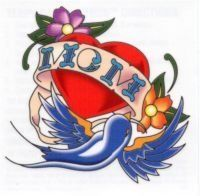 """MOM #2 Temporaray Tattoo by Tattoo Fun. $3.95. This temporary tattoo has a red heart with a banner that reads """"MOM"""". A blue bird as well as a purple and orange flower are also a part of this tattoo design measuring approx 2 1/2"""" 2 1/2"""".\r\nMother Heart."""