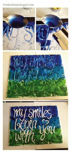 DIY: Quote Posters (Canvas and Melted Crayons) write with elmers glue and peel off?
