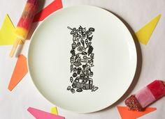 I for Ice Cream Alphabet Ceramic Plate Black by justnoey on Etsy
