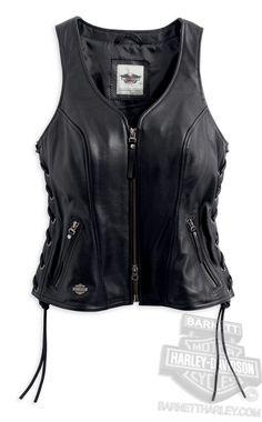Harley-Davidson® Womens Avenue Metal B&S Badge with Side Lacing Black Vest 98071-14VW