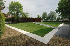 The design project for this small garden responds to the need for the construction of a car port, a storeroom, and to redesign the lawn spac. Treviso Italy, Water Plumbing, Garden Pavilion, Landscape Architecture Design, Landscape Designs, Best Architects, Public Garden, Garden Pictures, Contemporary Landscape