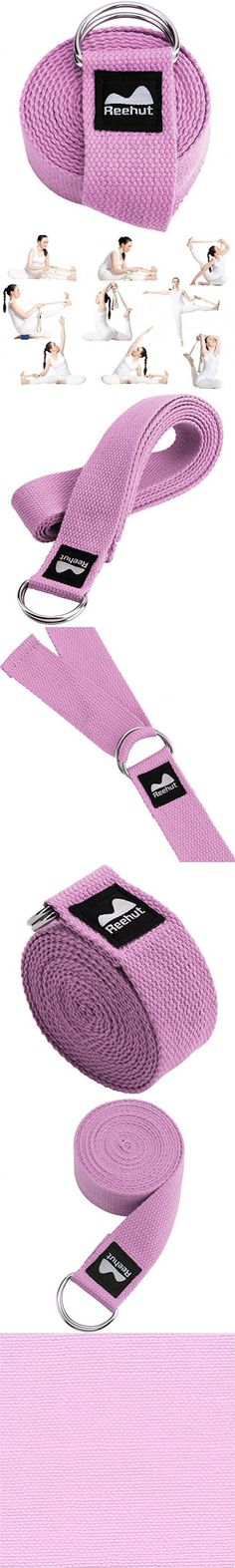 Reehut Fitness Exercise Yoga Strap (6ft) w/ Adjustable D-Ring Buckle for Stretching, Flexibility and Physical Therapy (Pink)