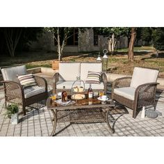 A classic wicker build and neutral cushions make the Every Season 4 Piece Wicker Patio Conversation Set a great fit on any patio, porch, deck,. Recycled Furniture, Refurbished Furniture, Outdoor Furniture Sets, Modern Furniture, Furniture Design, Outdoor Seating, Outdoor Spaces, Outdoor Decor