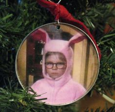 Ralphie in his pink bunny suit /A Christmas Story Ornament made from recycled tin can lid.   ANY picture could be used to make a personalized ornament.