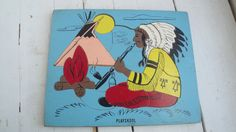 Vintage Playskool Wooden Puzzle Indian Chief by CraftySara on Etsy