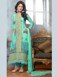 Hina Khan Sea Green Georgette Straight Cut Suit 87928