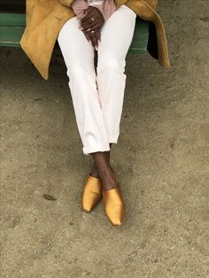 brown legs; goldenrod slippers