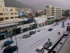 The streets of Cape Town after a massive hailstorm on Sunday 2 June ROALAND STREET - where my son was living 2 years Hail Storm, Cape Town South Africa, Winter Time, Trees To Plant, Beautiful World, Street View, The Incredibles, Landscape, City