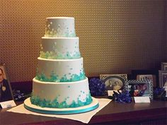 Rock Candy wedding cake in the West Wing at the Campus Club. Non-beachy sea glass wedding inspiration.