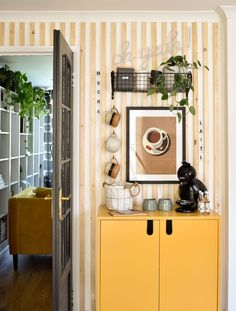 diy coffee station after shot with yellow cupboard cup hooks and wooden wall panelling Yellow Cupboards, Diy Projects On A Budget, Basket Shelves, Small Space Living, Home Decor Inspiration, Home Organization, Interior Styling, Diy Design, Diy Home Decor