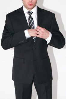 Men's Suits > CALVIN KLEIN > Black - 2 Button - Side Vents - Flat Front Pant - 100% Superfine Wool