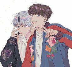 V / Taehyung + Jungkook Vkook Fanart, Fanart Bts, Bts Anime, Comic Anime, Taekook, Taehyung, Jimin Jungkook, Kpop, Boy Band