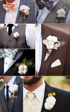 Rustic Wedding - Cotton Boutonnieres - Deer Pearl Flowers