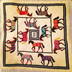 Racehorses in their Silks - completed needlepoint pillow