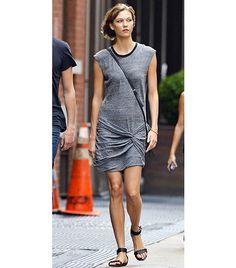 Naya Zenobia Ankle-Strap Sandals ($60); T by Alexander Wang Jersey T-shirt Dress ($89).