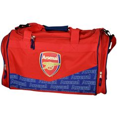 The Arsenal EPP Crest Holdall Bag features in red with blue piping edges and the world famous Arsenal club crests in full colour. Measuring approximately x