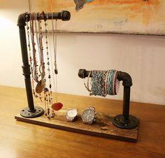 industrial jewelry organizer wood jewlery stand by RustasticWood