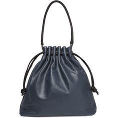 Clare V Grand Henri Maison textured-leather shoulder bag (9 580 UAH) ❤ liked on Polyvore featuring bags, handbags, shoulder bags, navy, over the shoulder bags, over the shoulder hand bags, drawstring purse, drawstring pouch and navy purse