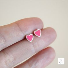 Perfectly pink sterling silver heart studs. Approximately 6mm in size these little beauties are perfect for all. Great for gifting, these amazing little studs make the perfect piece of jewellery. A fab pop of colour for everyday wear. #sterlingsilverjewellery #gifts #studs #hearts Color Pop, Colour, Sterling Silver Jewelry, Heart Ring, Studs, Handmade Jewelry, Hearts, Jewelry Making, Jewellery