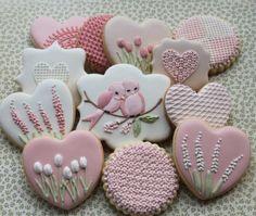 pink flowers birds cookies