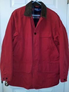 RARE Red! Vintage POLO RALPH LAUREN Canvas Corduroy HUNTING Jacket Flannel Lined #PoloRalphLauren #HuntingJacket