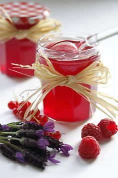Raspberry and Redcurrant Jelly with Lavender infusion.....Ingredients:    750g raspberries    750g redcurrants    1 small bundle (7-8 stalks) of edible lavender    1kg sugar with added pectin