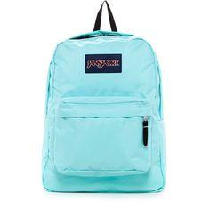 JANSPORT Superbreak Backpack ($30) ❤ liked on Polyvore featuring bags, backpacks, aqua dash, jansport rucksack, blue bag, jansport, aqua backpack and aqua blue backpack