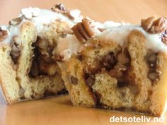 Pecan Vanilla Cinnamon Buns | Det søte liv Krispie Treats, Rice Krispies, Pecan, Cinnamon, Vanilla, Cooking Recipes, Sweets, Baking, Buns