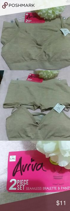 Aviva Ladies two-piece bralette and panty set L/XL Aviva Ladies two-piece tan seamless bralette and panty set. Panties are boy cut bra is lightly padded both have plenty of stretch. Fits large or extra-large, adjustable straps on the bralette top. Intimates & Sleepwear Bras