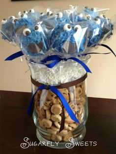 Cookie Monster cake pops by Sugarfly Sweets.