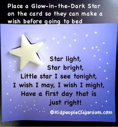 This little freebie wish card along with a glow-in-the-dark star makes a great teacher gift to incoming students! Kidpeople Classroom: Night Before School Wishing Star