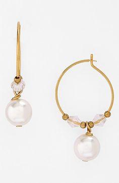 BP. Faux Pearl Hoop Earrings available at #Nordstrom