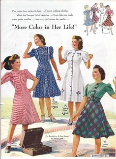 women's dresses from 1940. The check skirt cut on the bias became popular when my mum was a teenager in the early seventies. My Great Gran used to make them for her.