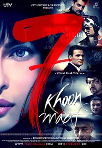 Saat Khoon Maaf: A black comedy-cum-thriller directed by Vishal Bhardwaj, 7 Khoon Maaf was adapted from Ruskin Bond's short story, Susanna's Seven Husbands features Priyanka Chopra in the main lead and seven male actors opposite her. 2011 Movies, Imdb Movies, Top Movies, Comedy Movies, Internet Movies, Movies Online, Vishal Bhardwaj, Love Story Movie, Indian Movies