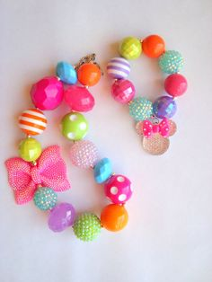 Minnie Bow-tique inspired Necklace and Bracelet Set baby/toddler/child chunky necklace