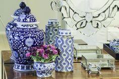 Cachepot Cerâmica Floral Azul e Branco Pequeno - Soul Home - Loja de móveis e decoração de alto padrão