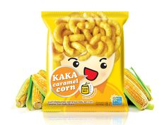 Packaging of the World: Creative Package Design Archive and Gallery: KAKA Caramel Corn Chip Packaging, Packaging Snack, Kids Packaging, Honey Packaging, Food Packaging Design, Packaging Design Inspiration, Brand Packaging, Product Packaging, Clever Packaging