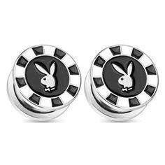 "1"" Black Playboy Bunny Poker Chip Stash Plugs"