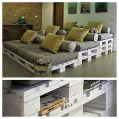 Home theater seating via upcycled pallets.