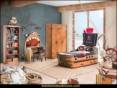 15 Pirate Theme Designs For Boy Bedroom – Top Easy DIY Interior Decor Project - HoliCoffee Boys Pirate Bedroom, Pirate Bedding, Boys Bedroom Furniture, Kids Bedroom, Easy Diy Interior, Princess Carriage Bed, Bedroom Themes, Bedroom Decor, Wood Bedroom