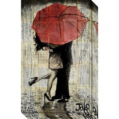 Canvas Art Gallery Wrap 'The Red Umbrella' by Loui Jover 15 x 24-inch