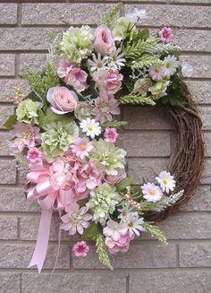 "25"" Pink Green Floral Spring Grapevine Door Wreath Handmade   eBay"